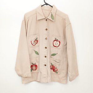 Vintage Longaberger Apple Embroidered Tan Jacket
